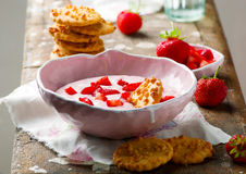 Strawberry cheesecake dip with cookies . Stock Image