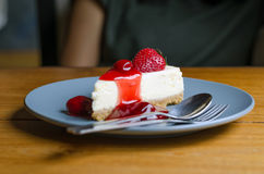 Strawberry Cheesecake on dish Royalty Free Stock Images