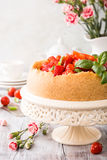 Strawberry cheesecake and flowers Royalty Free Stock Image