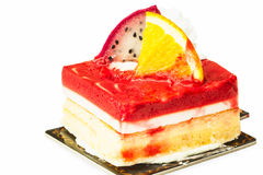 Strawberry cheesecake and fresh fruits Stock Images