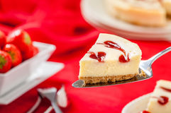 Strawberry Cheesecake Slice with Strawberries Stock Photos