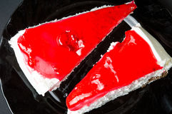 Strawberry cheesecake slices on a plate Stock Image