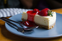 Strawberry Cheesecake with spoon and fork Royalty Free Stock Photos