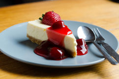 Strawberry Cheesecake with spoon and fork Royalty Free Stock Photography