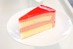 Strawberry Cheesecake. On the table Royalty Free Stock Photography