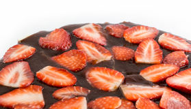 Strawberry cheesecake top isolated Stock Photo