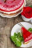 Strawberry cheesecake on white background Royalty Free Stock Image