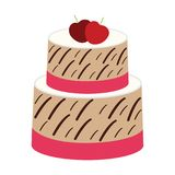 Strawberry Cherry Cake on white background Stock Images