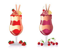 Strawberry & cherry ice cream Stock Photography