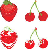 Strawberry and cherry isolated on the white Royalty Free Stock Photos