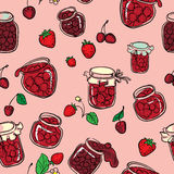Strawberry and cherry jam seamless Royalty Free Stock Photo