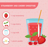 Strawberry and cherry smoothie recipe with ingredients. Stock Image
