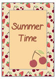 Strawberry and Cherry - Summer Time Card Frame. On Yellow Background - Vector Illustration Stock Photos