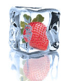Strawberry chilled in Ice cube  on white background cuto Royalty Free Stock Photos
