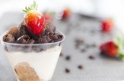 Strawberry choclate dessert. Strawberry chocolate dessert in a cup Stock Images