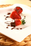 Strawberry in chocolate Royalty Free Stock Images