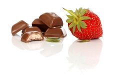 Strawberry and chocolate Royalty Free Stock Image