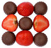 Strawberry and chocolate. Some pieces on a white background Stock Photo
