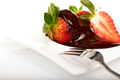 Strawberry in chocolate Royalty Free Stock Photos