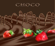 Strawberry in chocolate Stock Photo