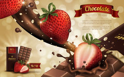 Strawberry chocolate ad. Strawberry flavor chocolate ad, bokeh background, 3d illustration Royalty Free Stock Photos