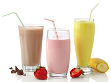 Strawberry, chocolate and banana milkshakes Royalty Free Stock Image