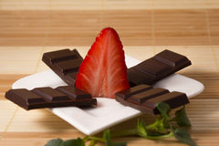 Strawberry and chocolate bars like a star Royalty Free Stock Images