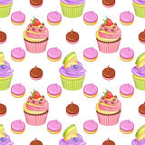 Strawberry chocolate and blueberry lemon cupcakes and meringues vector seamless pattern. Cute pink strawberry chocolate and blueberry lemon cupcakes and Stock Images