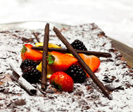 Strawberry chocolate cake. On a platter Royalty Free Stock Image