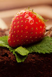 Strawberry on chocolate cake Stock Photo