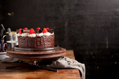Strawberry Chocolate Cake on vintage wooden background. Dark foo Royalty Free Stock Photography