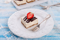 Strawberry Chocolate Cheesecake Stock Photography