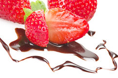 Strawberry with chocolate Royalty Free Stock Photos