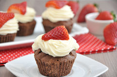 Strawberry Chocolate Cupcakes Royalty Free Stock Photos