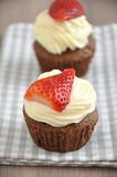 Strawberry Chocolate Cupcakes Stock Photo