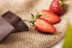 Strawberry with Chocolate. Delicious strawberries and chocolate chips Stock Image