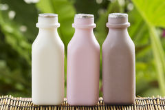 Strawberry, chocolate and fresh milk bottles Royalty Free Stock Photography