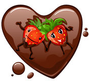 Strawberry in chocolate heart. Cartoon strawberry supine in chocolate heart Royalty Free Stock Image