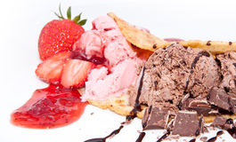 Strawberry- and Chocolate Ice Cream  Stock Photo