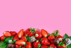 Strawberry with chocolate Isolated on pink background. Food Frame Background. top view, free space for text stock images