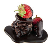 Strawberry in a chocolate Royalty Free Stock Images