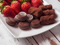 Strawberry and Chocolate Royalty Free Stock Photos