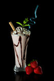 Strawberry chocolate milk shake Stock Photos