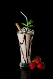Strawberry chocolate milk shake Royalty Free Stock Images