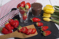 Strawberry and chocolate pot Stock Photography