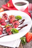 Strawberry and chocolate sauce Royalty Free Stock Photography