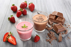 Strawberry and chocolate smoothie Stock Photo