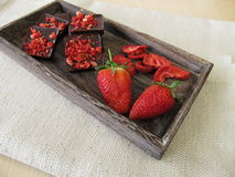 Strawberry chocolate and strawberries Stock Photos