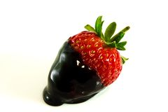 Strawberry with chocolate topping Stock Photo