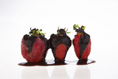 Strawberry with chocolate. On white Stock Photography